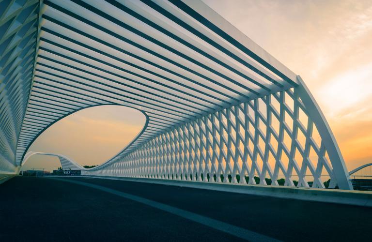 Modern bridge in the sunset