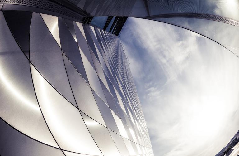Modern skyscraper details shot with a fish eye lens