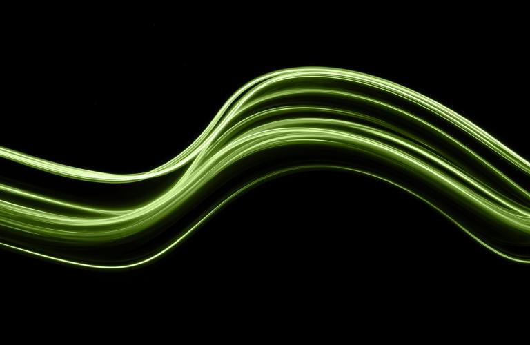 Green Light on Dark Background