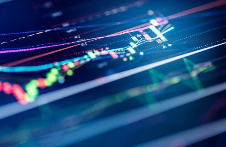 Financial chart on digital display
