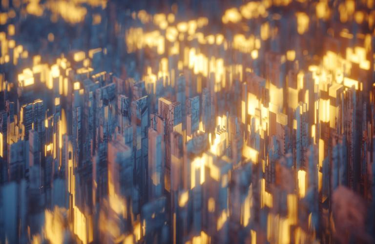 Futuristic abstract urban landscape
