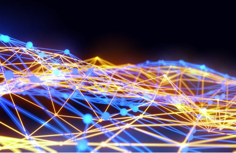 3D abstract neon background of network connections