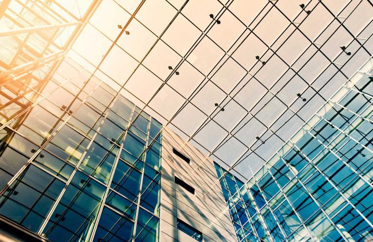 Glass windowed ceiling, viewed from below.