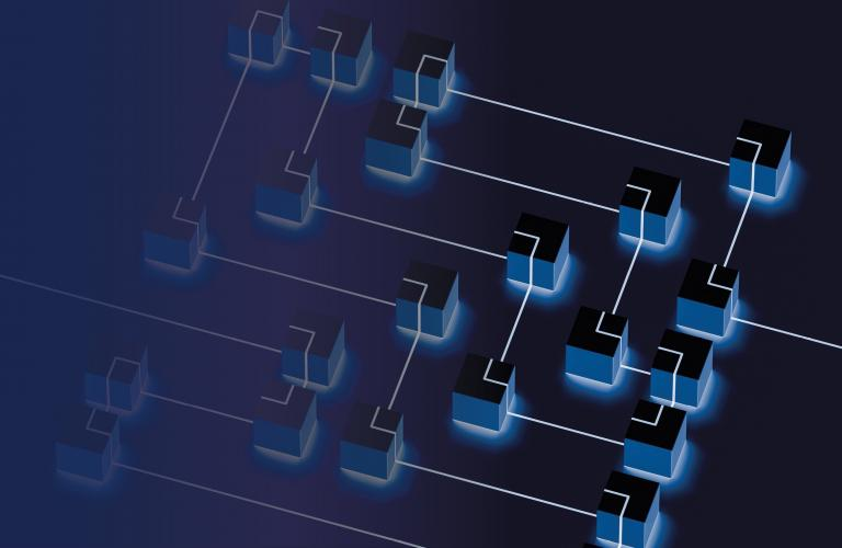 Blue Cubes connected with a line