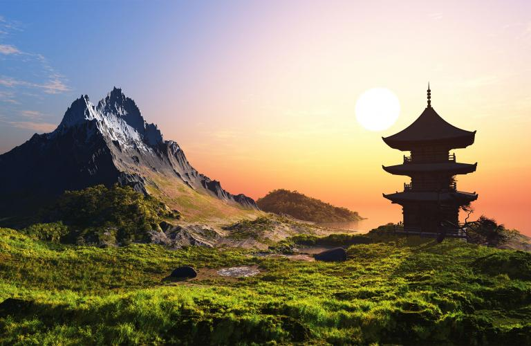 China sunset with mountains