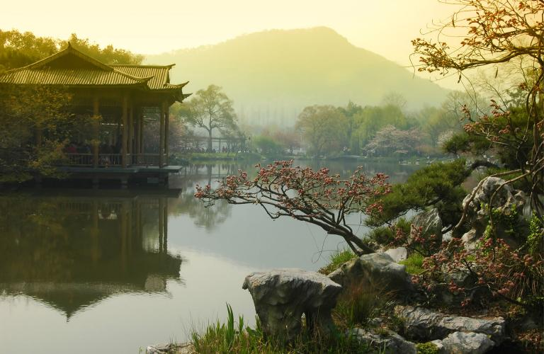 China lake and gazebo
