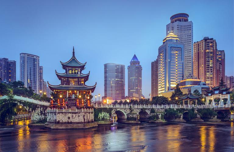 China skyline at night with gazebo