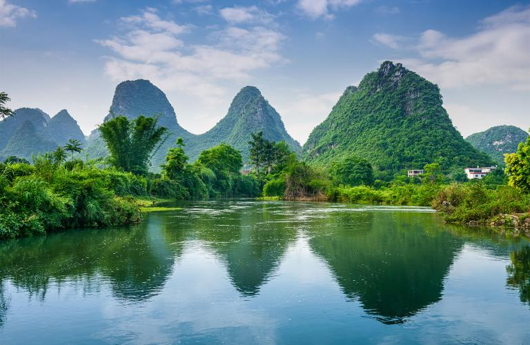 Mountain and lake in China