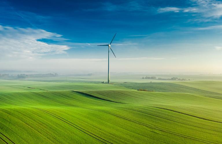 Turbine with blue sky