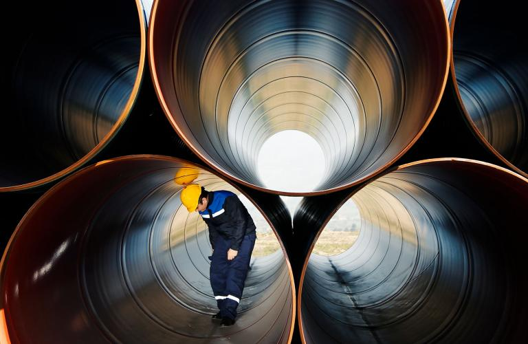 Photo of pipeline worker