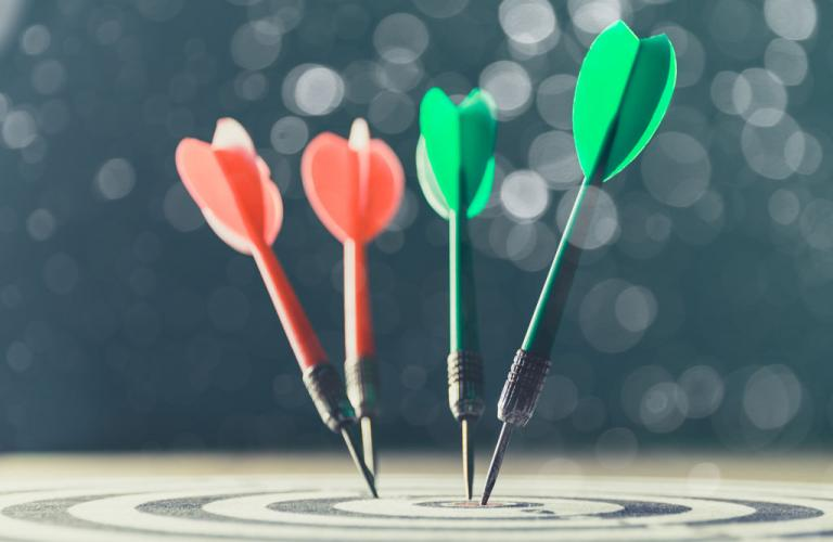 Dartboard with multiple darts