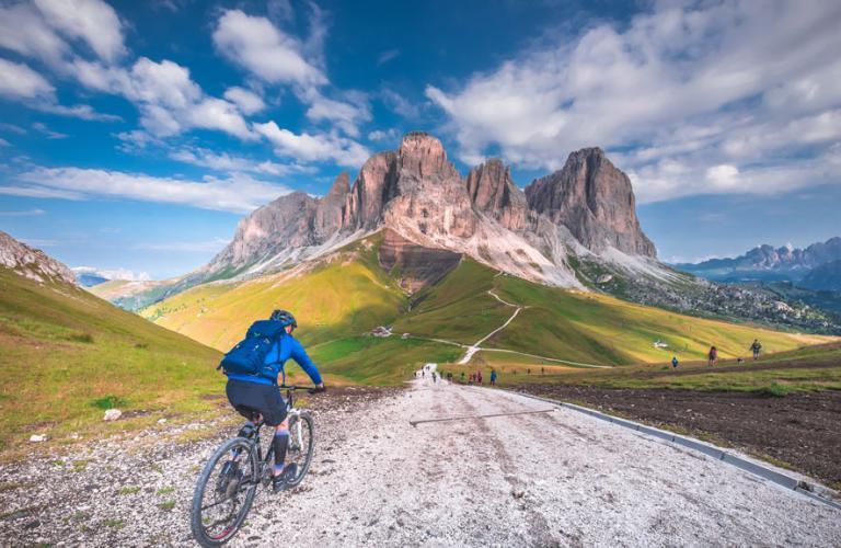Mountain Bike down a path