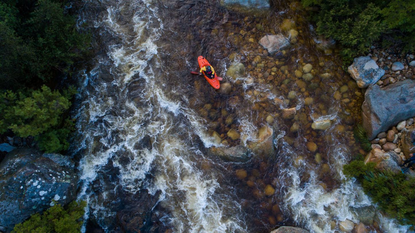Navigating turbulent stream of water