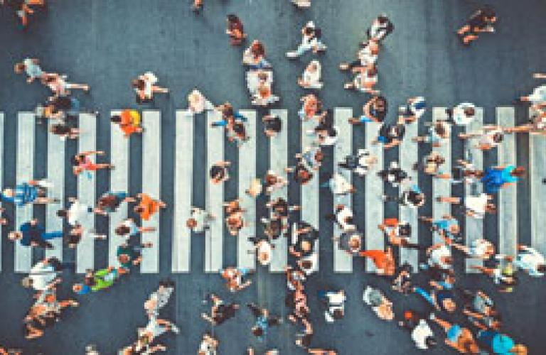 Crowded Sidewalk Image